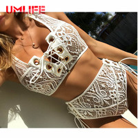 UMLIFE High Waist Bikini Set Women Sexy Lace Up Swimsuit Bandage Push Up Beach Swimwear Brazilian