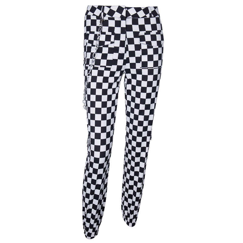 Hot Fashion High Waist Cotton Black White Plaid Womens Ankle Banded Pants Female Leisure Long Trousers 2019 Spring