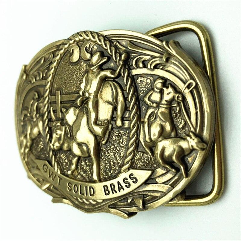 GWT Pure Brass Copper Belt Buckle Cowboy Vintage Antique