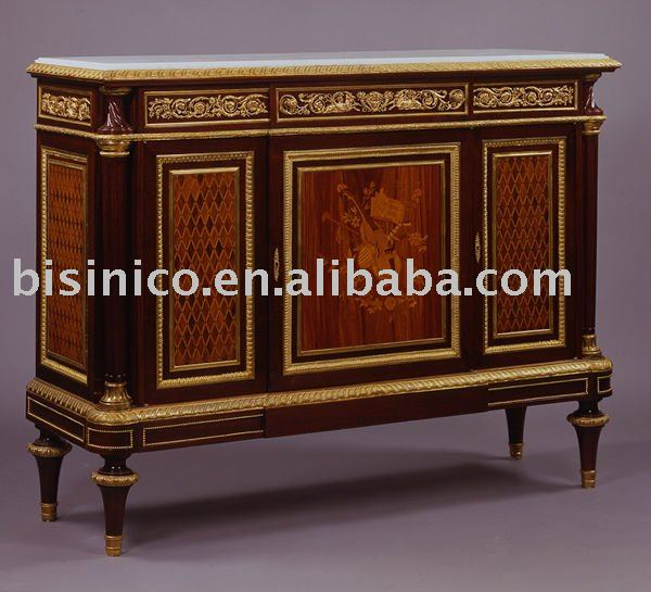 French Antique Marquetry Chest/cabinet, Hand Painted Chest, Marquetry  Furniture, Bronze Decorated