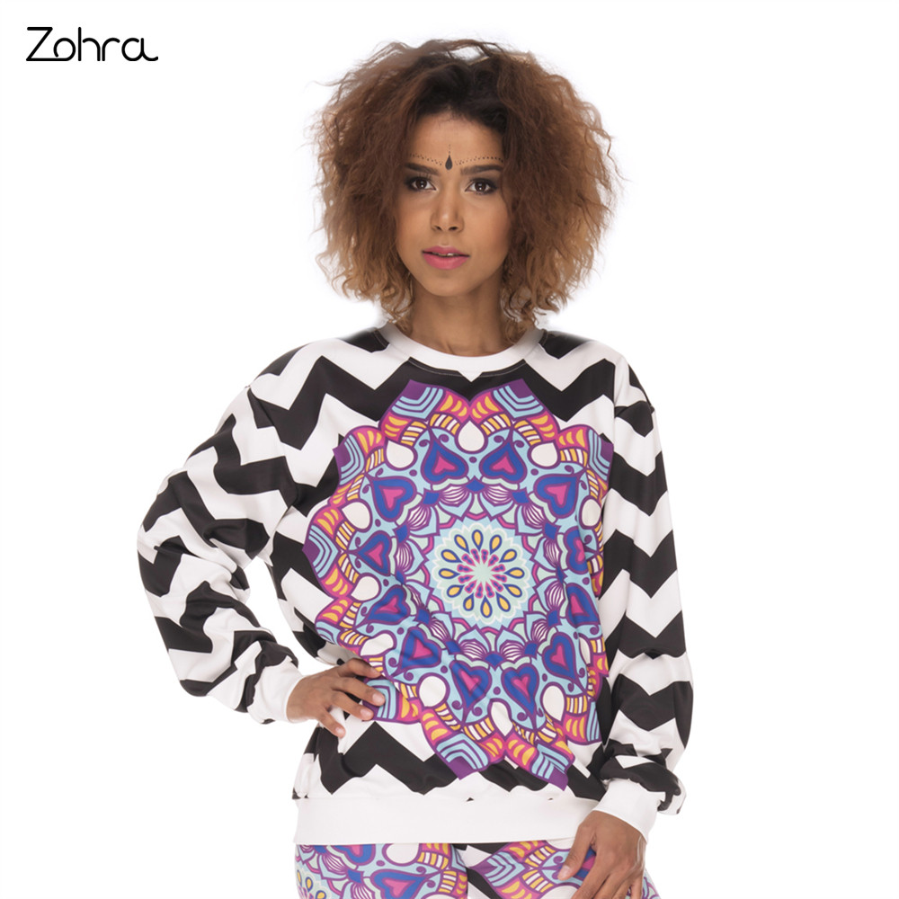 Zohra High Quality Women Sweatershirt Mandala Zigzag Printing Woman Hoodies Fashion Casual Pullover Sweatershirts
