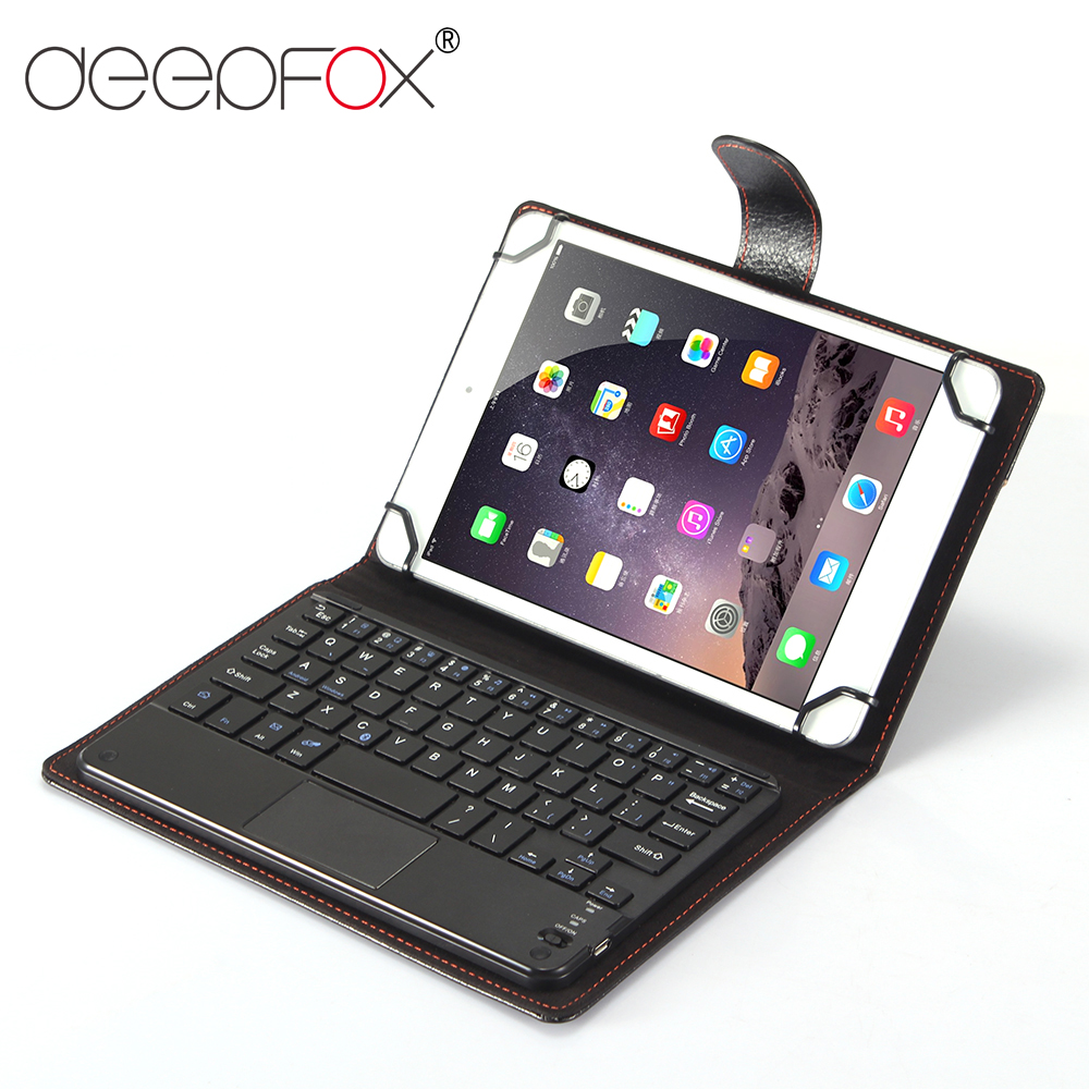 Deepfox Bluetooth Keyboard Case For 7 8 9 10 inch iPad Tablet PU Leather Protective Case Stand Cover with Bluetooth Keyboard fashion cute cartoon usa uk flag card slot leather stand holder cover case for google nexus 9 tablet 8 9 inch with stylus pen