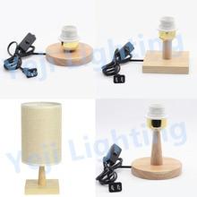100 мм/120 мм деревянная основа с цоколем E27 патрон лампы с кнопкой включения/выключения набор кабелей деревянная настольная Светодиодная лампа для спальни