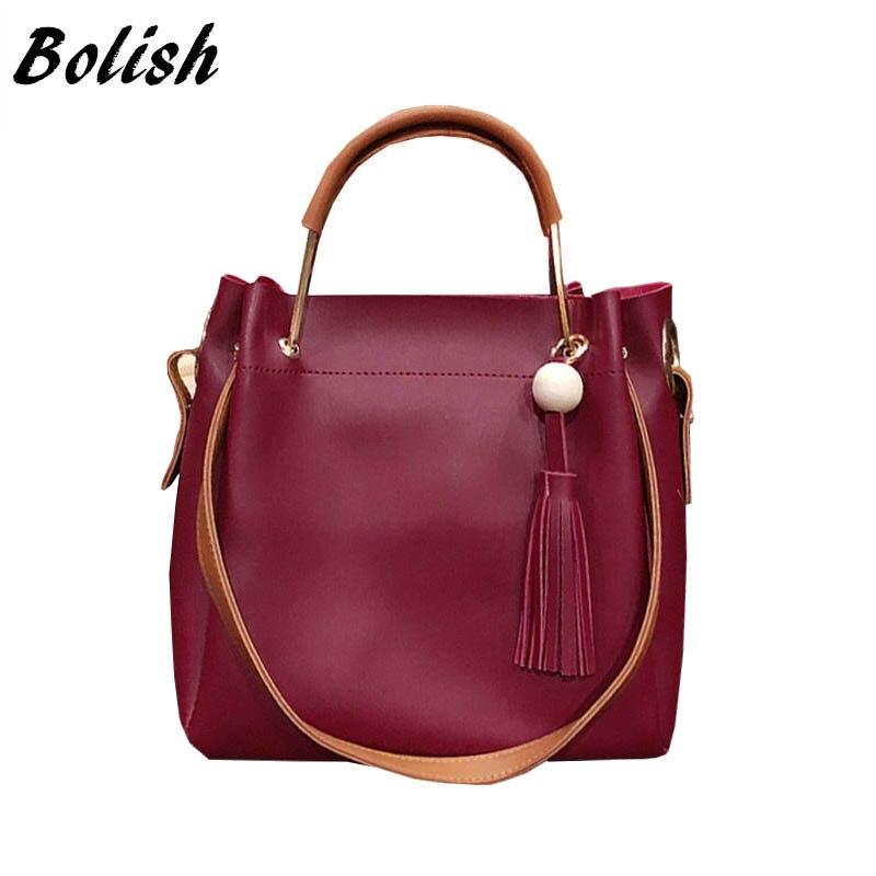 Bolish 새로운 도착 유럽과 미국 스타일의 PU 가죽 탑 핸들 가방 패션 술의 합성 가방 고품질의 어깨 가방