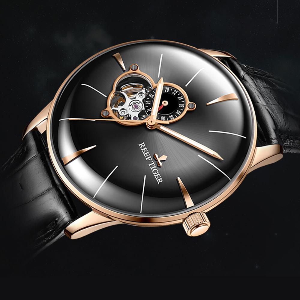 2018 Récif Tigre De Mode Sport Montre Hommes Top Marque De Luxe Automatique Véritable Bracelet En Cuir Or Rose Analogique Montres Reloj Hombre