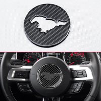 Car Styling Molding Steeling Wheel Running Horse Cover Genuine Carbon Fiber Trims For Ford 2015 18 Mustang Interior Accessories