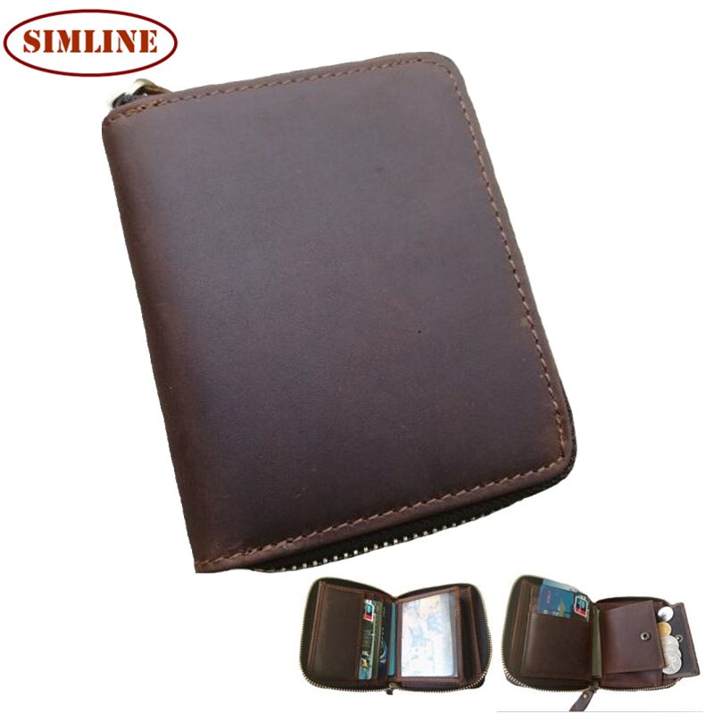 Brand Vintage 100% Genuine Crazy Horse Leather Cowhide Men Men's Zipper Short Wallet Wallets Purse With Coin Bag Pocket For Man
