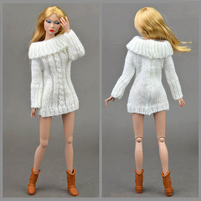 Pure Manual Doll Accessories Knitted Handmade Sweater Tops Coat Dress Clothes For Barbie Doll Gifts For Girls Kids Toy