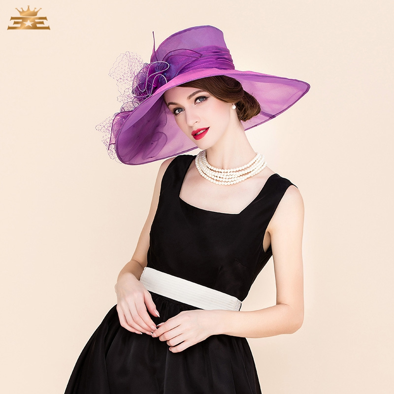51aeb38a668d0 Ladies  Elegant church sombreros Organza Tulle With Bowler Cloche Hat  Women s Summer new fashion dress wedding hat for 4044-in Fedoras from  Apparel ...