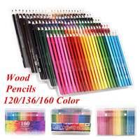 School Office Pencil Set 120/136/160 Colors Wood Colored Pencil Professional Drawing Pencils Artist Painting Sketching Pens