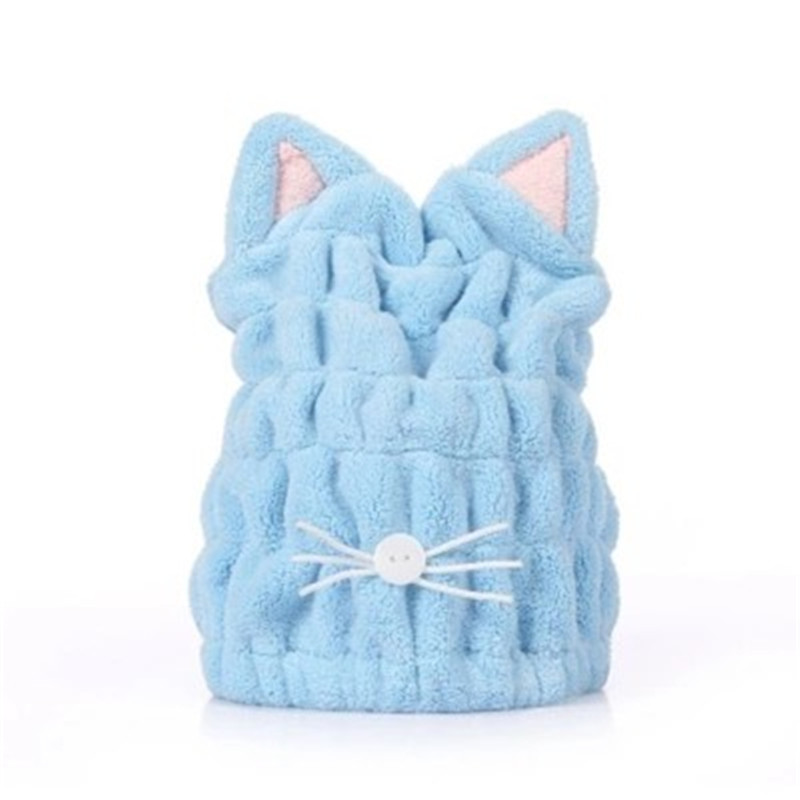 Lovely Cat Soft Bath Towel Cap With Strong Absorbing for Home Use or Travel 2