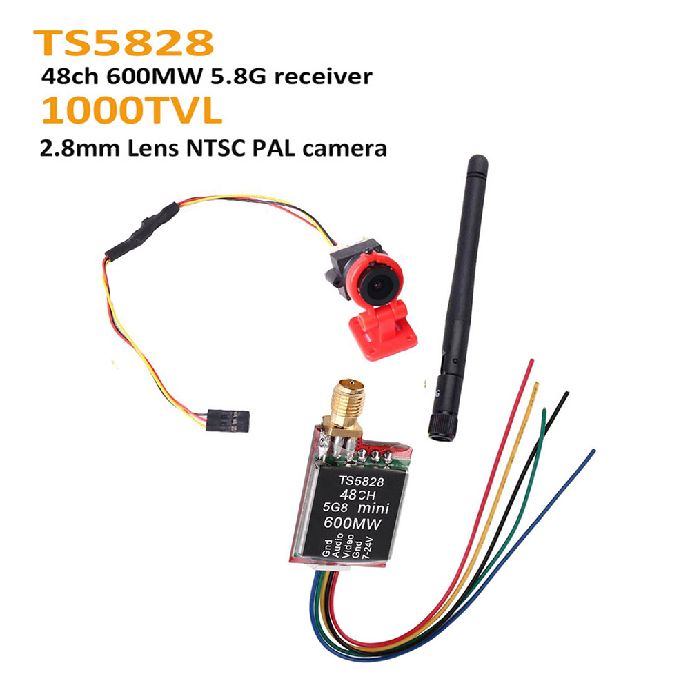 FPV Mini Video Camera 1000TVL 1000 TVL Line 2.8mm lens / TS5828 Micro 5.8G 600mW 48CH Transmitter Camera base For RC FPV Drone image