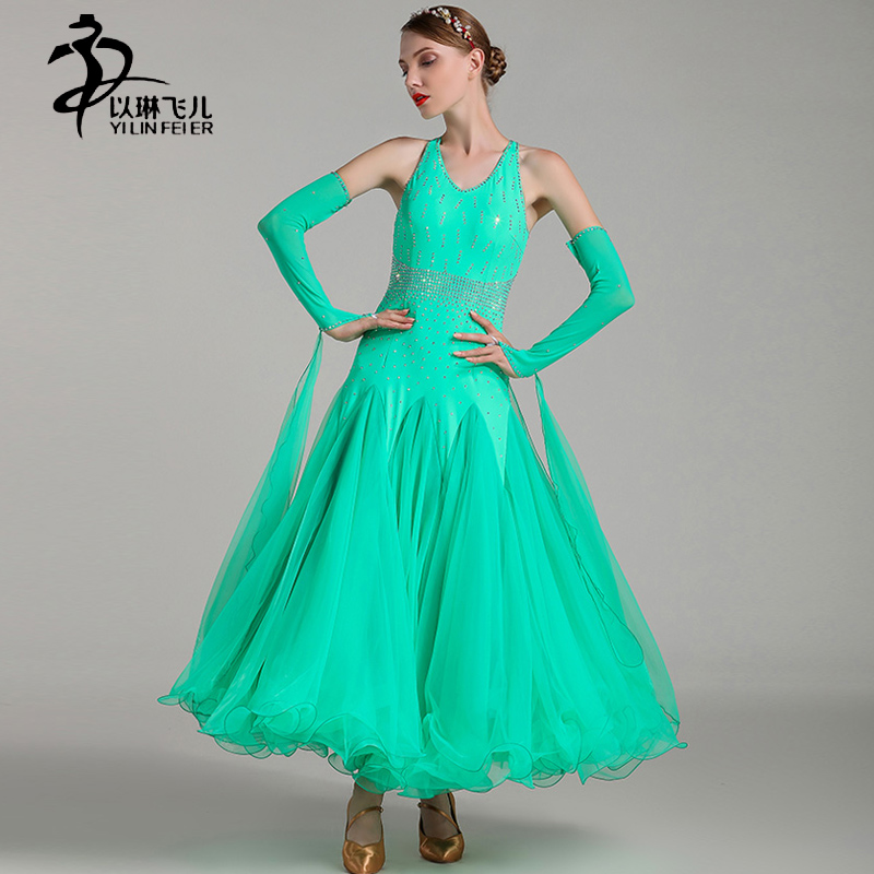 Modern Waltz Ballroom Dance Competition Dresses Lycra Fabric Ballroom Skirts Women Tango Standard Costumes 5 Colors Fluffy Skirt