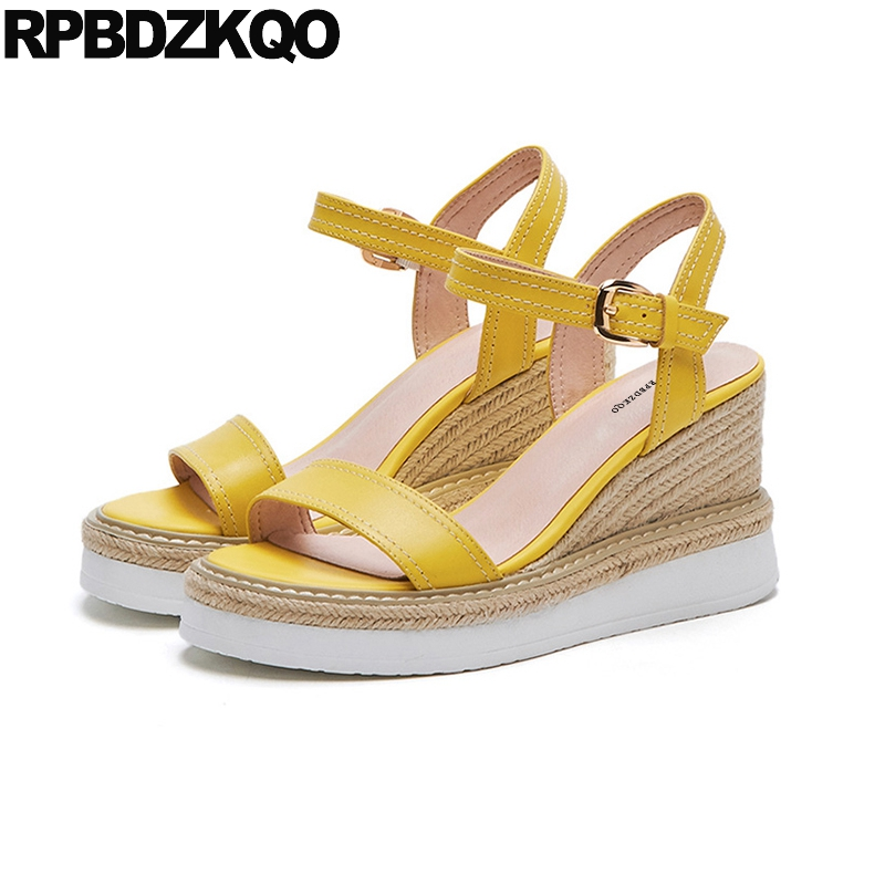 Pumps Shoes Women Luxury Rope Summer Yellow Slingback Genuine Leather 2018 Strap Espadrilles High Heels Platform Wedge SandalsPumps Shoes Women Luxury Rope Summer Yellow Slingback Genuine Leather 2018 Strap Espadrilles High Heels Platform Wedge Sandals