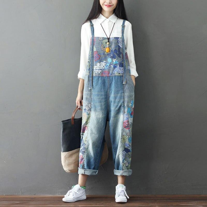 4c86f701532 Women Vintage Printed Flower Casual Loose Jumsuits Denim Pants Ladies  Bleached Retro Plus Size Denim Overalls