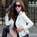 Women's fashion Leather motorcycle clothing female short design  sheepskin jacket outerwear Casaco de Pele de Carneiro