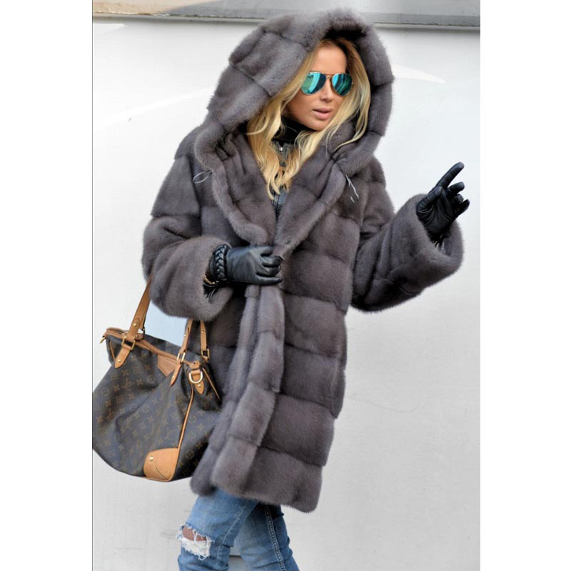 BFFUR 2019 Luxury Real Mink Fur Coats Women Full Pelt Thick Warm Jacket With Big Fur Hood Female Winter Park With Natural Fur