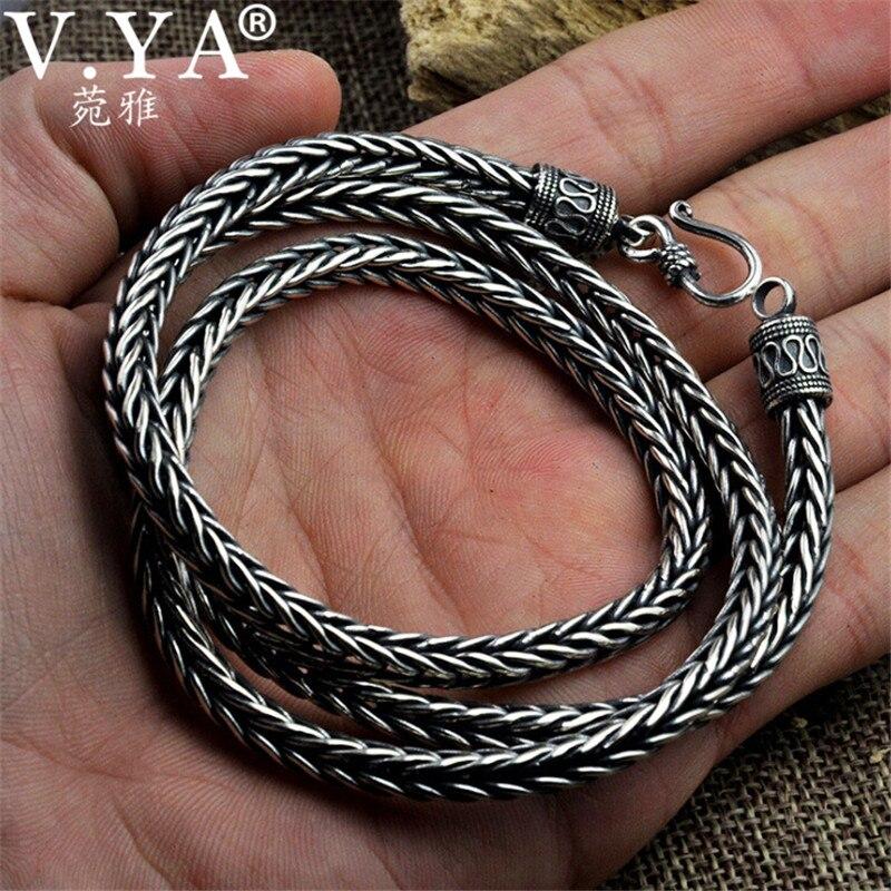 V YA 100% collares de plata de ley 925 con forma de serpiente para hombres, estilo Punk, collar de cadena larga de plata tailandesa, 55cm 60cm-in Collares de cadena from Joyería y accesorios    1