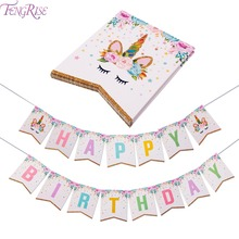 FENGRISE Glittering Unicorn Happy Birthday I Am One Banner Baby Shower Kids Favors Cartoon Flags Party Supplies