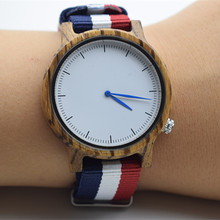 Fashion Zebra Wooden Watch For Men And Women With Nylon Strap Japan MIYOTA Movement In Great Box