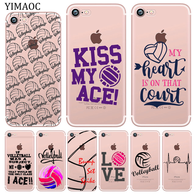 the best attitude c02eb 295dd US $1.47 22% OFF|YIMAOC Volleyball Sports Soft Silicone Phone Shell Case  for iPhone X XS Max XR 5 5S SE 6 6S 7 8 Plus 10 TPU Cover-in Fitted Cases  ...