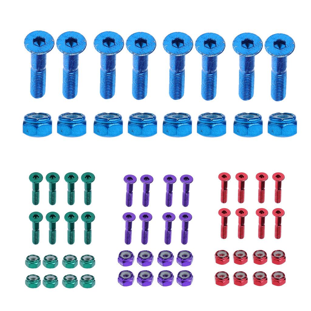 Set Of 8 Pcs Flat Head Replacement Skateboard Truck Hardware Longboard Mounting Screws Bolts Nuts 2.54 Cm / 1''