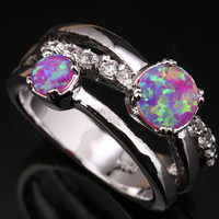 Reduction In Price Beauty Pink Fire Opal & White Jewelry 925 Sterling Silver Stamped Fashion Gems Women's Us# Size SF1175
