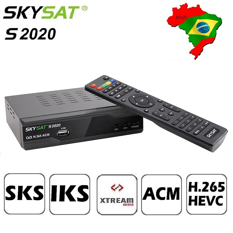 купить SKYSAT S2020 Twin Tuner Satellite Receiver IKS SKS ACM H.265 Xtream M3U PowerVu stable server Full HD Channel DVB-S2 set top box по цене 3358.4 рублей