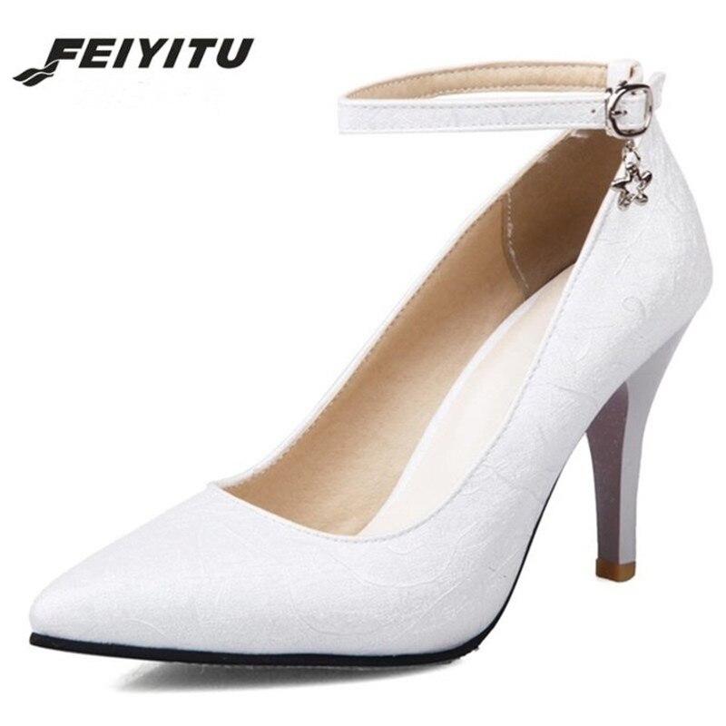 90ee787513247 Robe Lady Sexy Taille Automne blanc Femmes La Femme Haute 34 Élégant  Chaussures Pointu Nouveau 2018 ...