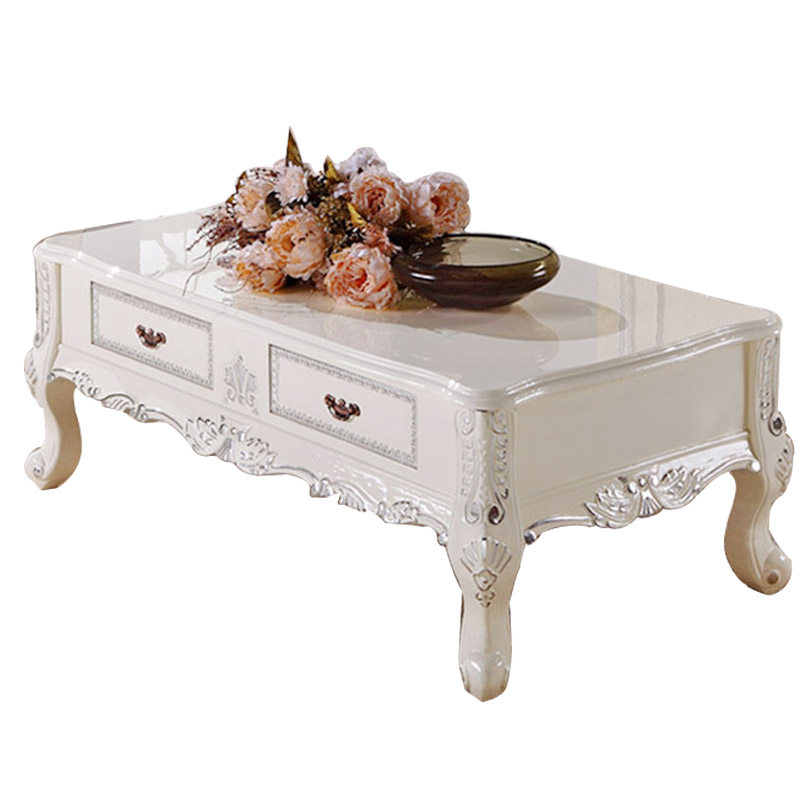 New York Marble Coffee Table: American Continental French Oak Wood Coffee Table High End