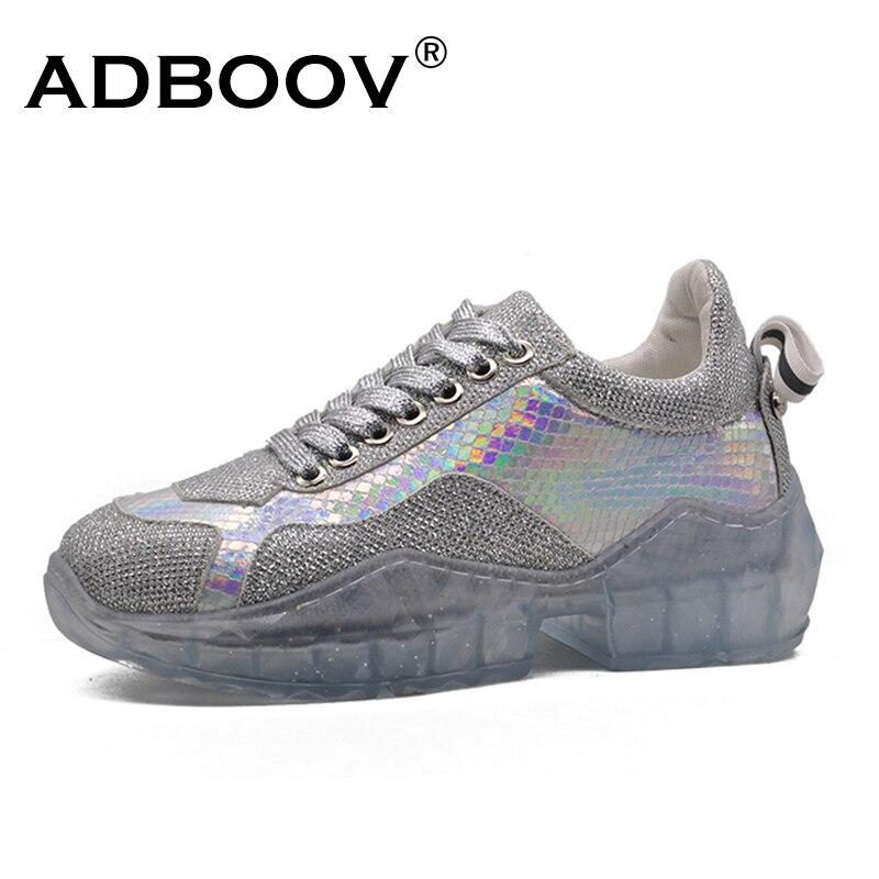 ADBOOV Sequin baskets femmes semelle transparente chaussures Femme décontractées Basket Femme 2019 Bling strass plate-forme baskets argent