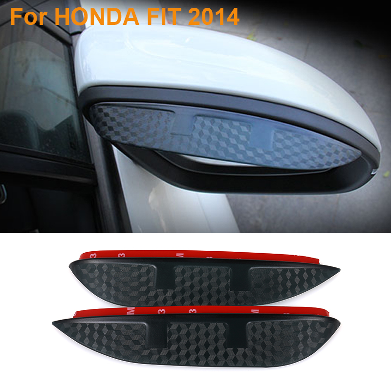 2016 Car Styling Carbon Rearview Mirror Rain Blades Car Back Mirror Eyebrow Rain Cover Protector For HONDA FIT 2014