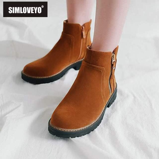 SIMLOVEYO 冬の女性靴アンクルブーツ冬の靴ラウンドトウ Med ヒールブーツショートブーツ固体 Bota Ş Feminino B976