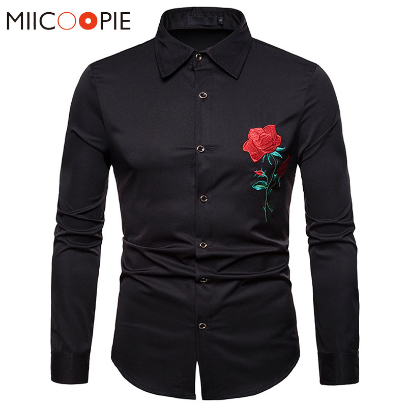 Retro Floral Shirts Men New 2018 Luxury Rose Embroidery Dress Shirt Long Sleeve Chemise Homme Social Streetwear Hawaiian Shirt