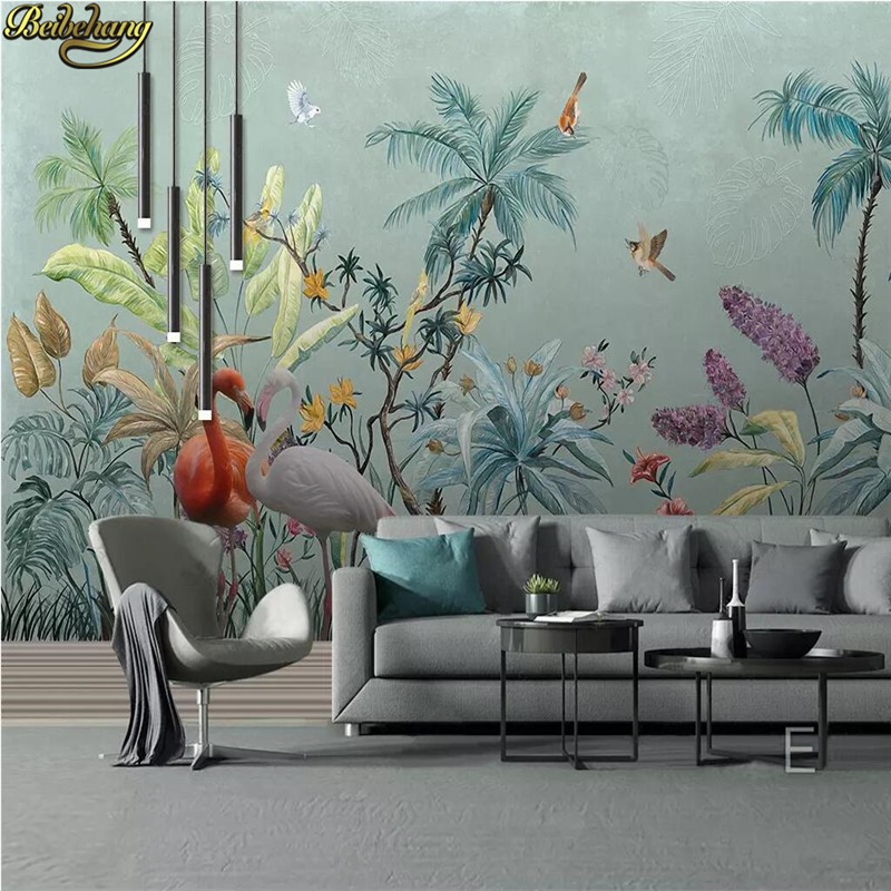 Beibehang Custom Mural Wallpaper Wall Painting Study Bedroom Living Room Decor Tropical Rainforest Flowers Birds Photo Wallpaper