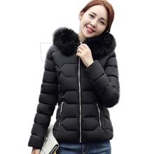 2016 New Fashion Short Cotton Coat Slim Casual Fur Hooded Jacket Artificial Wool Collar Winter Jacket