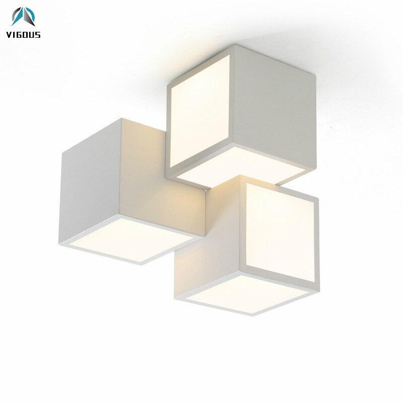 Modern Creative 3 Cubes Light Led Luminaria Ceiling Light Paint White / Black Metal Remote Control Dimmable Led Ceiling Lamp youoklight remote control led ceiling light