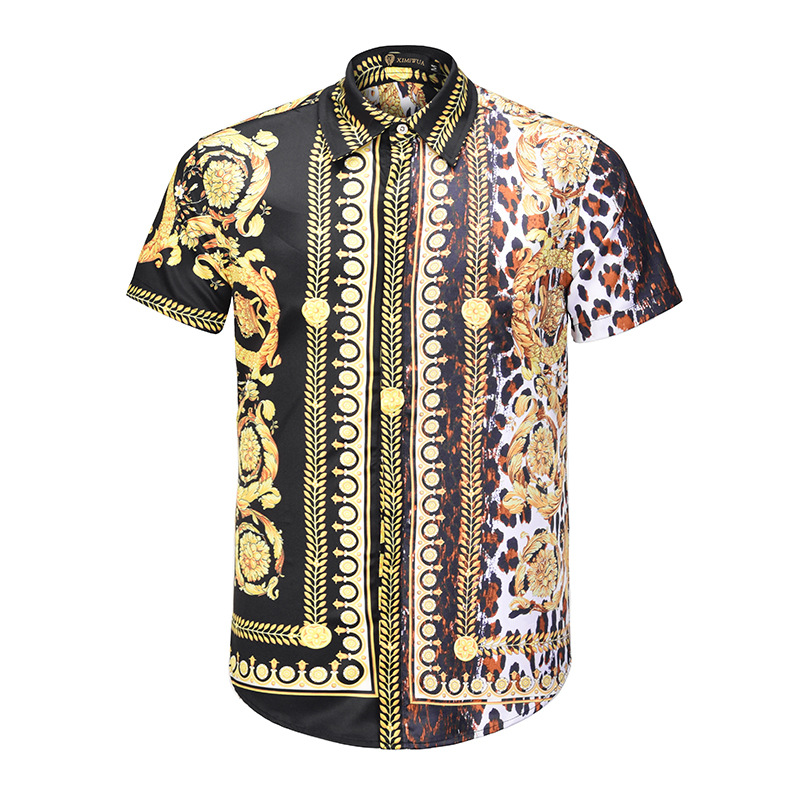 Mens Short Sleeve Fashion Luxury Design Print Dress Shirt