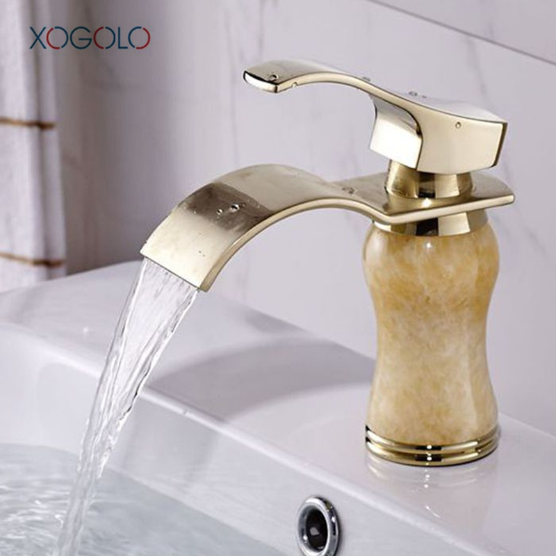 Xogolo Luxury Gold Bathroom Waterfall Faucet Brass Jade Mosaic Sink Tap Modern Style Single Handle Basin Mixer brother ls 2125