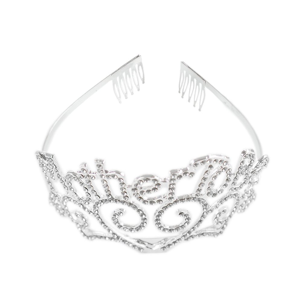 Metal Mother To Be Silver Tiara Hearts Crown with Sparkling Rhinestones for Baby Shower Future Expecting Mom Accessory