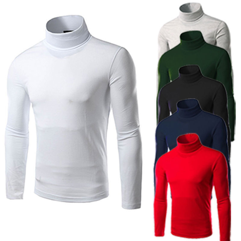 Hot Men Slim Fit Knit High Neck Pullover Turtleneck Jumper Sweater Tops Shirt