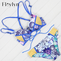 Floylyn Sexy Strappy Bikini Set Swimwear Push Up Bikinis Low Waist Swimsuit Bathing Woman Biquini Maillot