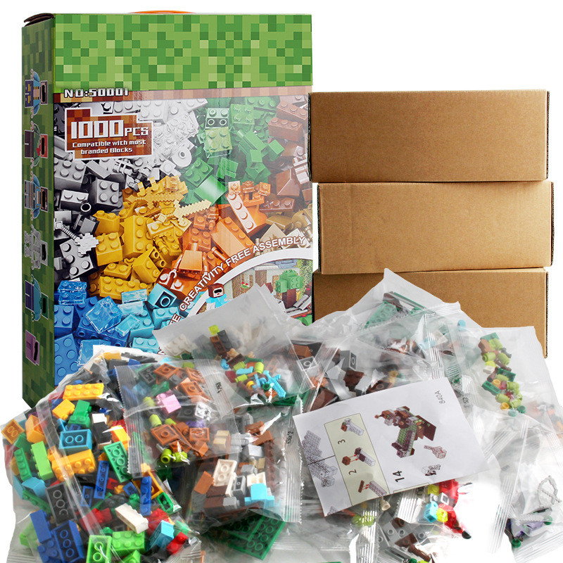 1000PCS City DIY Creative Bulk Building Blocks Sets Compatible LegoINGLY MY WORLD Minecrafted Figures Bricks Toys for Children