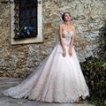 2017 Luxury Crystal Beaded Organza Wedding Dresses Ball Gown Appliques Wedding Bridal Gowns Vestios De Novia AL73