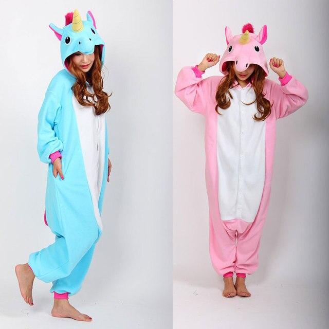 3d01bebddf Unicorn Onesie Pink Blue Pyjamas Jumpsuits Rompers Adult Animal Sleepsuit  Pajamas Costume Cosplay