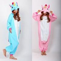 Onesie unicornio Rosa Azul Pijama Monos Mamelucos Adultos Animal Sleepsuit Pijamas Traje Cosplay
