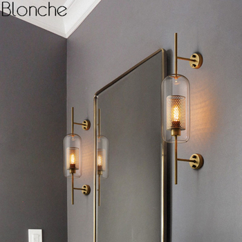 Modern Glass Led Wall Lamp for Bedroom Nordic Wall Sconce Light Fixture Loft Industrial Decor Mirror Lights for Home Luminaire rushed luminaire double head wood wall lights bedroom lamps hallway wandlamp bed light nordic home lighting sconce lamp iy121786