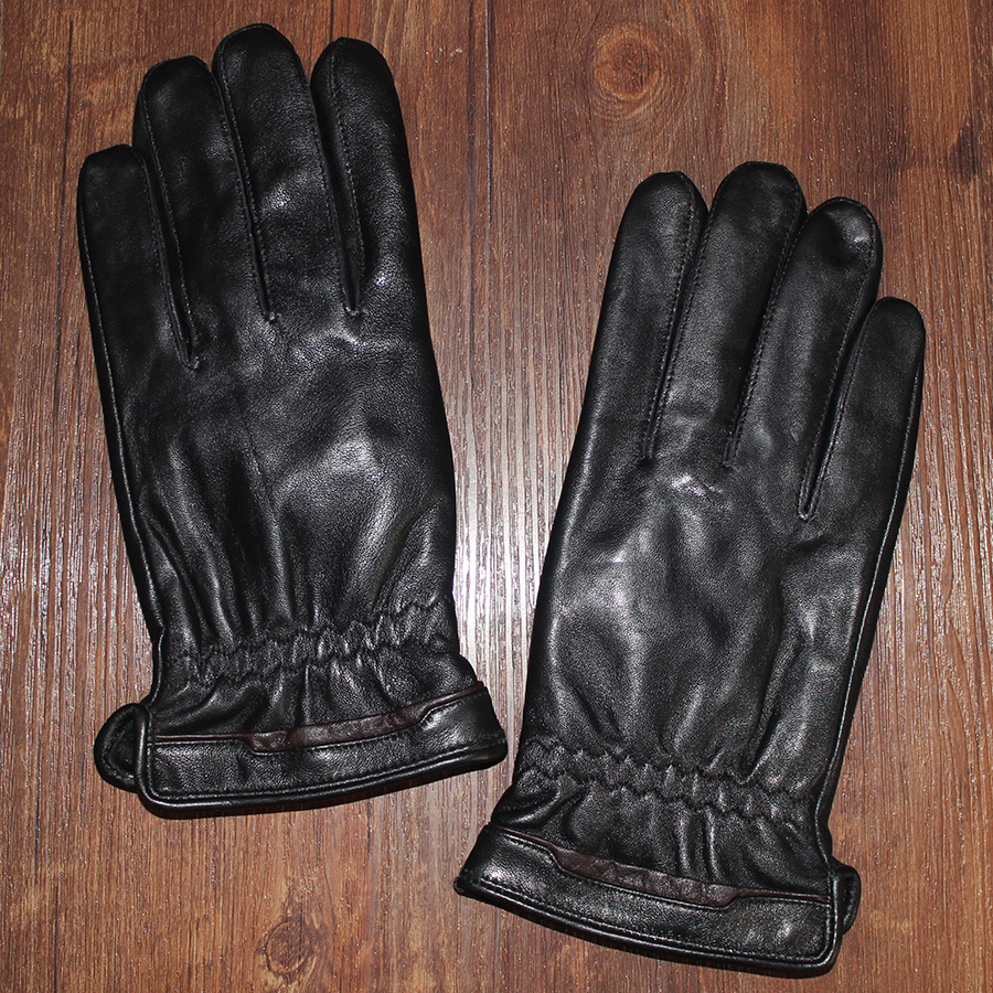 Autumn and winter Men s velvet genuine leather gloves male sheepskin thermal winter classic black thicken