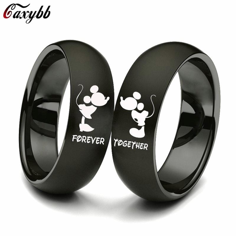 Unisexe Femmes Hommes En Acier Inoxydable Coeur Mariage Gravé Forever Lovers Ring