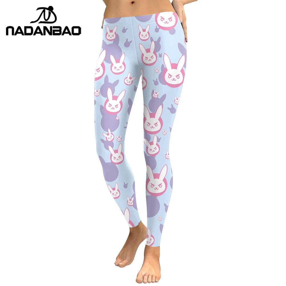 NADANBAO New Arrival D.VA Game 2019 Women Leggings Lovely Rabbit Cosplay Digital Print Leggins Workout Sporting Pants